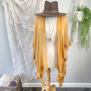 SO   Boho Mustard Fringe Kimono Coverup
